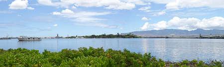 Panoramic View of Pearl Harbor, Oahu, Hawaii, USS Arizona and Missouri in the distance
