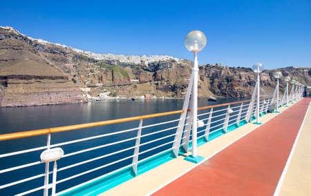 Cruise Ship Running Walking Track, with Santorini in the background. Greece Zdjęcie Seryjne