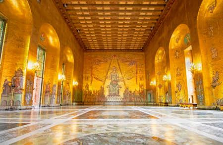 Golden Room, Stockholm City Hall. the Nobel Price Award Ballroom. Sweden, Stockholm, Kungsholmen Zdjęcie Seryjne