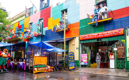 Bueno Aires, Argentina - Jan 5, 2018. Rainy day at San Telmo, a vibrant neighborhood with most historic buildings, the suburb is best known for its colorful, trendy and youthful vibe.