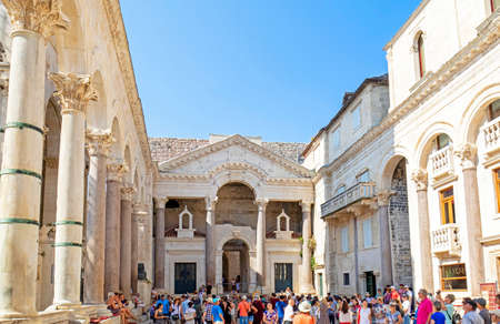 SPLIT, CROATIA - June 28, 2019: The Diocletian Palace in Split, Crotia. Built fourth century AD. Crowded with tourists.