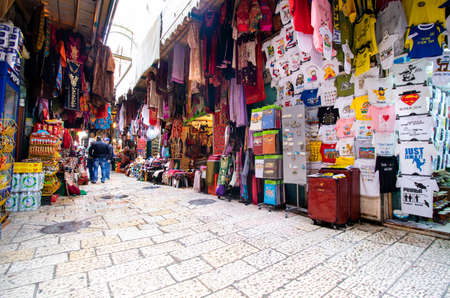 Jerusalem, Israel - Apr 13, 2016 : Jerusalem Old City Historical district, inside the walled city. Tourist district selling low cost merchandise