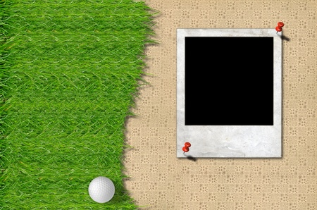Golf ball and green grass with frame on brown background