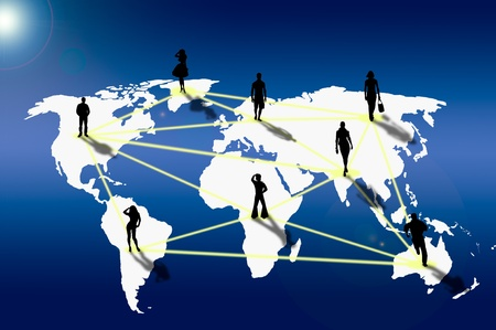 Social network connection on world map photo