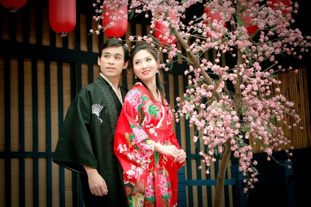 Portrait of young couple in japan dress