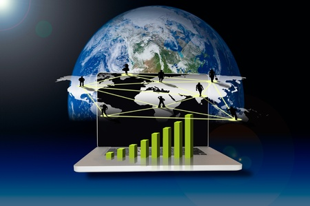 Business with social network on world map Stock Photo - 10406029