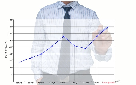 Businessman drawing increasing graph  Stock Photo
