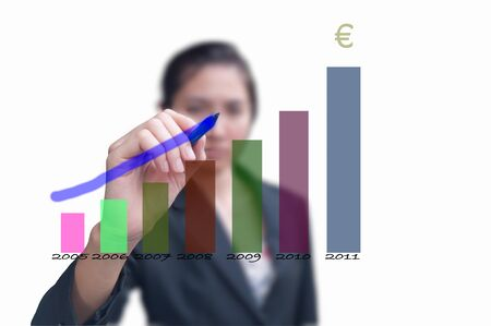 Business woman drawing increasing graph for year 2012  Stock Photo - 10429167