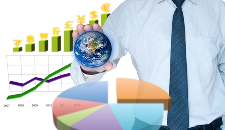 Businessman capture the world with business graph background Stock Photo - 10429220