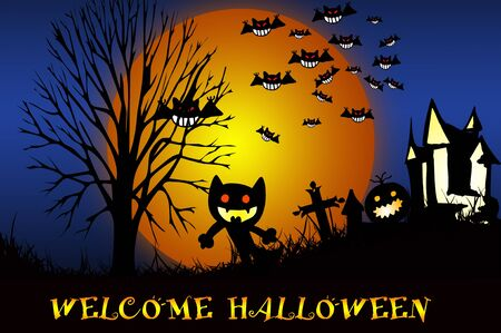 Scary Halloween Castle with Copy Space Stock Photo - 10429224