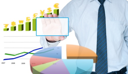Businessman holding card surround with business graph Stock Photo - 10429219