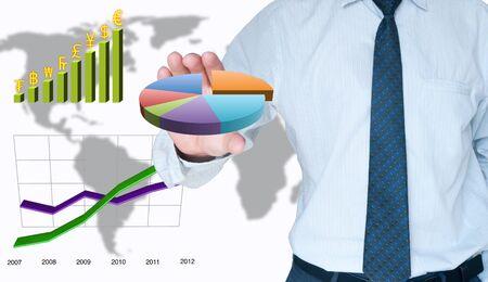 Businessman holding graph Stock Photo - 10449247