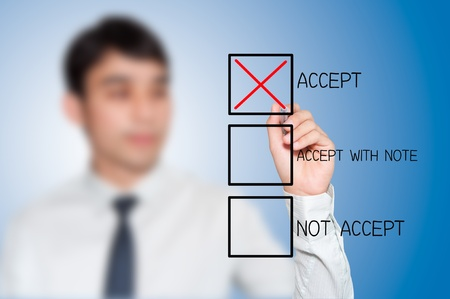schema: businessman making a positive decision by mark correct at Accept box Stock Photo