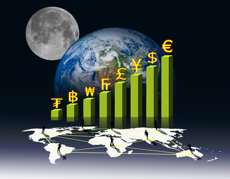 Currency on Business graph and social network photo