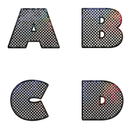 ferruginous: Grunge letter A B C D painted on old metal surface Stock Photo