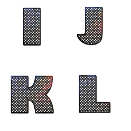 ferruginous: Grunge letter I J K L painted on old metal surface Stock Photo
