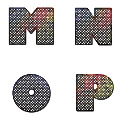 Grunge letter M N O P painted on old metal surface photo
