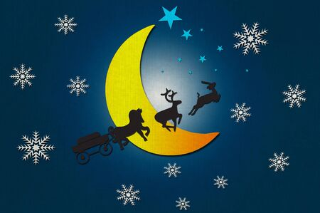 Santa Clauss animal with Moon and star recycled papercraft photo