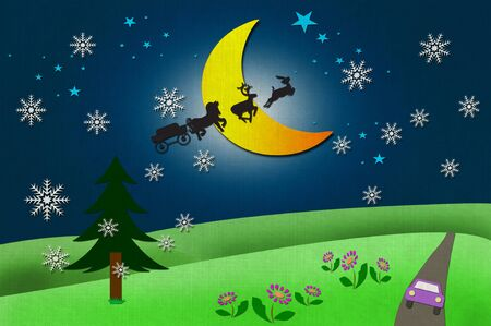 Rural view and Santa Clauss animal with Moon and star recycled papercraft photo