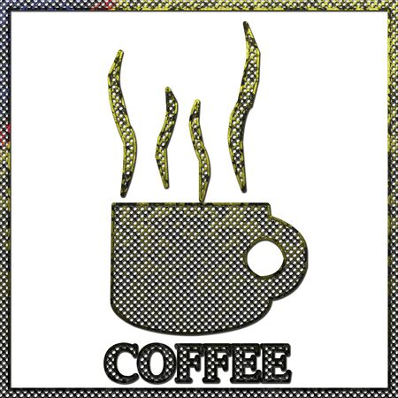 stenciled: Corroded metal of Coffee sign