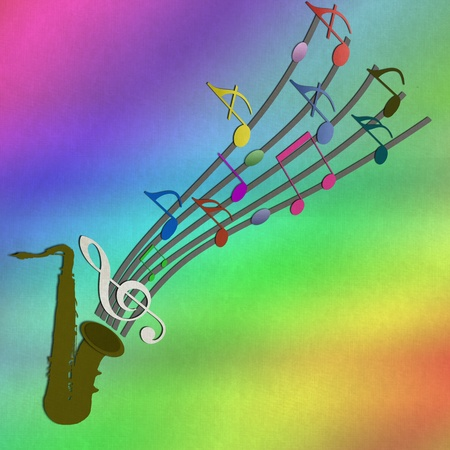 paper arts and crafts: Trumpet and Music note from recycled paper craft stick on paper background Stock Photo