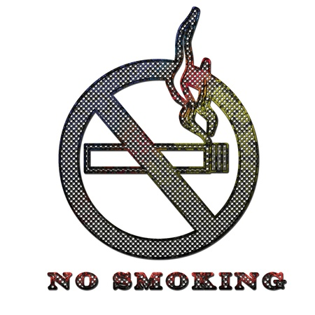 stenciled: Corroded metal No smoking sign Stock Photo