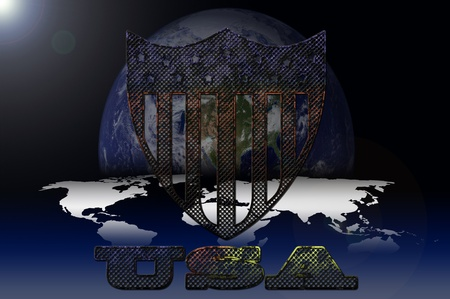 oxidized: USA symbol on galaxy background Stock Photo