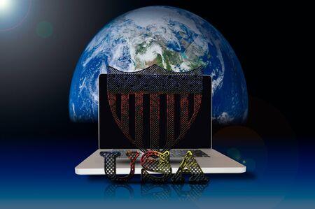 oxidized: USA symbol on laptop and galaxy background