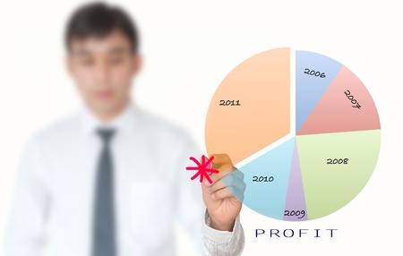 Businessman draw pie graph for year 2012 Stock Photo - 10544894