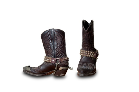 working cowboy: Old retro Cowboy boots isolate on white Stock Photo
