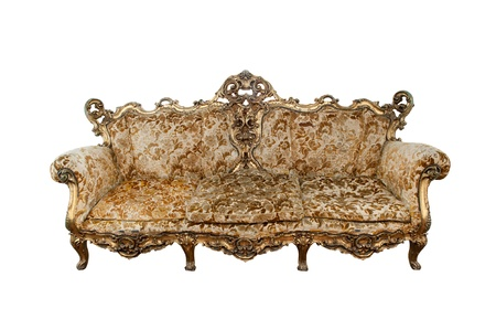 old sofa: classical carved wooden sofa isolate on white