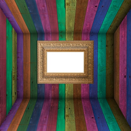 timber frame: Multi Color wooden wall with vintage photo frame Stock Photo