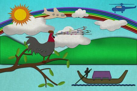 Chicken sing song on Sunny day from recycled paper craft stick on old paper background photo