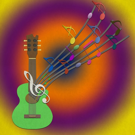 Guitar and Music note from recycled paper craft stick on paper background photo