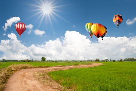 red balloon: Green meadow with hot air balloon over blue sky Stock Photo