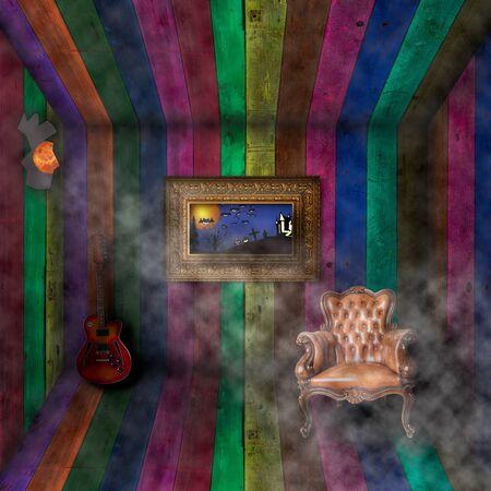 chimney corner: Antiguo interior con imagen de halloween