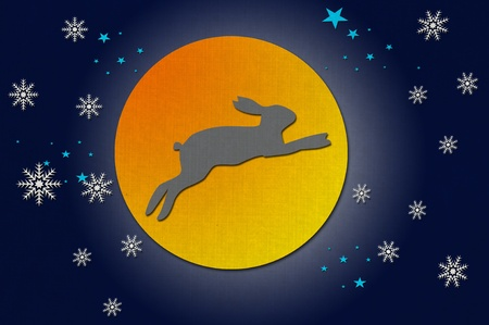 Rabbit on the moon from recycled papercraft Stock Photo - 10599347