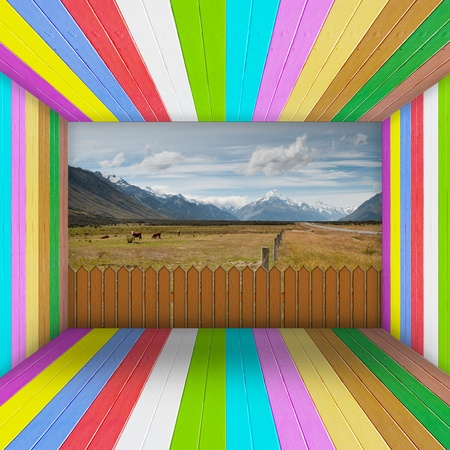 Multi Color wooden room open to beautiful landscape photo