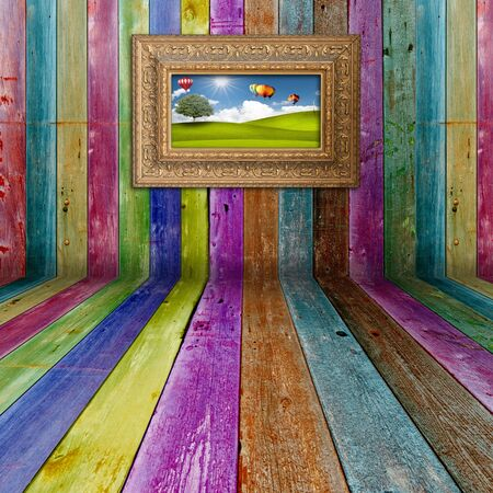 art gallery: Multi color  Wood Background with  picture frame Stock Photo