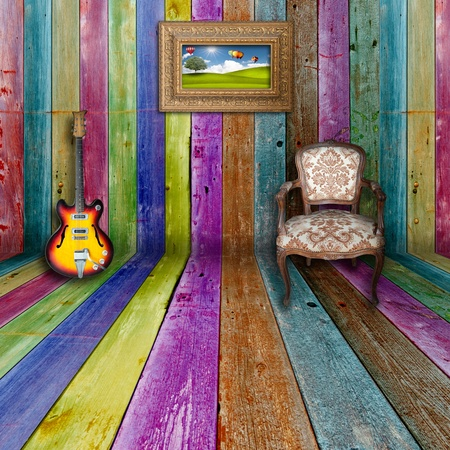 multi colors: Vivid wooden romm with furnitures