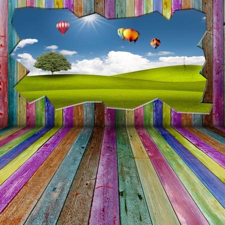 ventanas abiertas: Hermoso paisaje fuera de sala de madera viva
