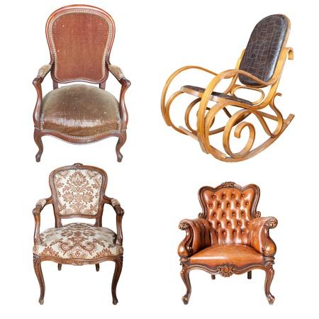 muebles de madera: Conjunto de silla de cuero antiguo aislado sobre fondo blanco Foto de archivo