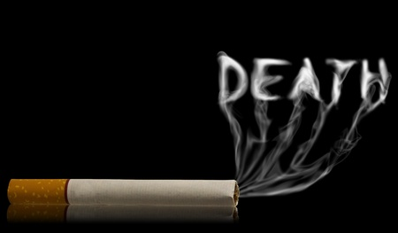 Death word come out from smoke of cigarette  photo