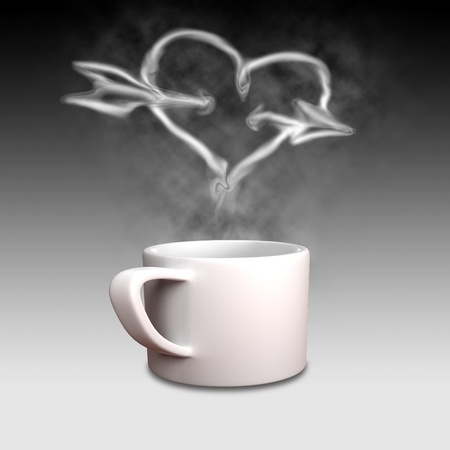 isolate Cup of coffee with heart shape smoke  photo