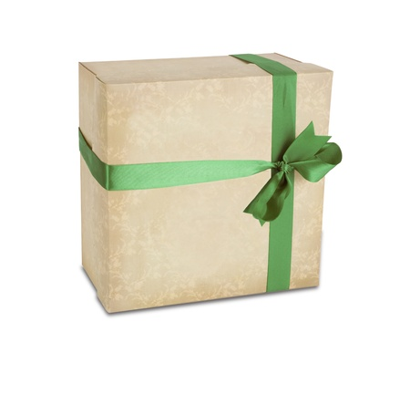 gift parcel: Gift box with green ribbon isolated on a white background