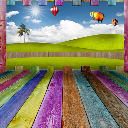 Beautiful landscape outside vivid wooden room photo