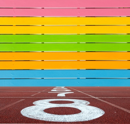 Multi Color wooden wall with running lane floor Stock Photo - 10714868