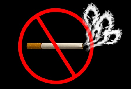 Do not smoke sign skull shaped smoke comes out from cigarette Stock Photo - 10714841