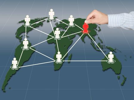 worldmap: Hand pick red man on world map social network Stock Photo