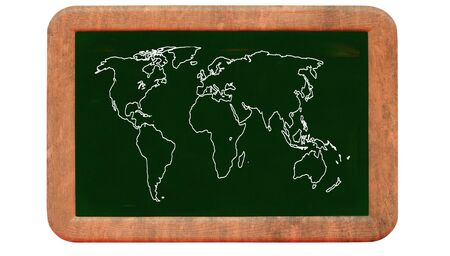 World map on blackboard Stock Photo - 10764980